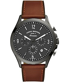 Men's Forrester Brown Leather Strap Watch 46mm