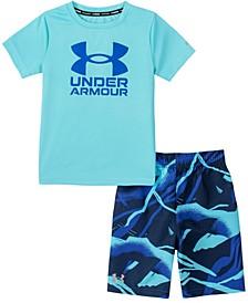 Little Boys Broken Waves T-shirt and Swim Shorts Set