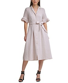 Triple-Ruffle Sleeve Shirtdress