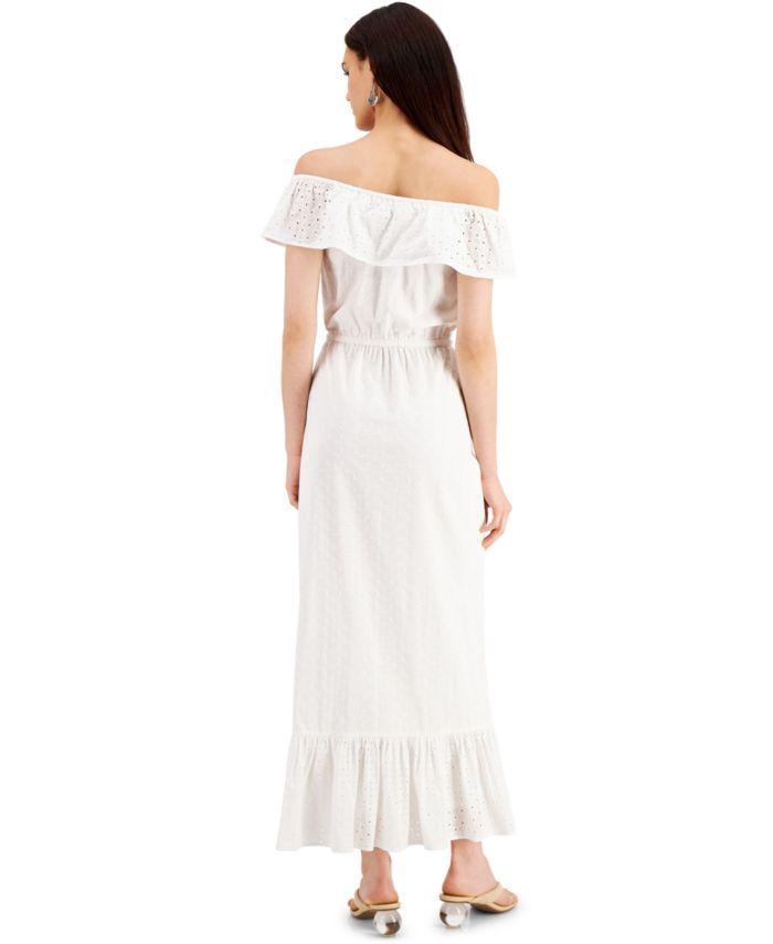 Style & Co Cotton Off-The-Shoulder Eyelet Maxi Dress, Created for Macy's & Reviews - Dresses - Women - Macy's