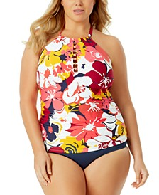 Plus Size Beaded Tankini & High-Waist Swim Bottoms