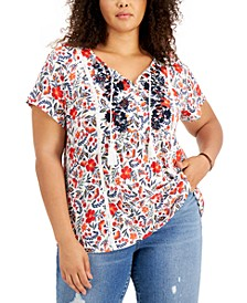 Plus Size Floral-Print Embroidered Top, Created for Macy's