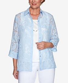 Plus Size Classics S1 Burnout Floral Two for One Top