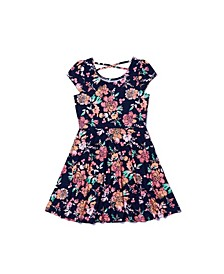 Big Girls Short Sleeve All Over Print Skater Dress