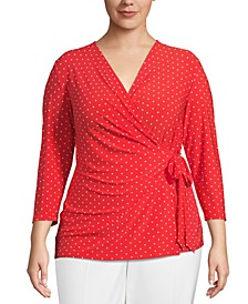 Plus Size Dot-Print Wrap Top