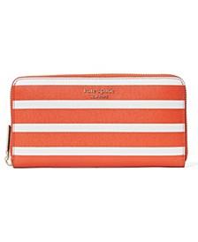 Spencer Stripe Zip Around Continental Wallet