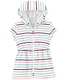 Toddler Girls Striped Hooded Cover Up