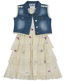 Big Girls Mesh Dress with Vest, Set of 2