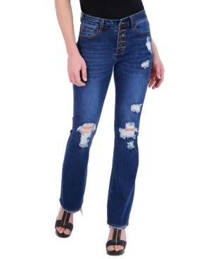 Juniors' Exposed Button Flare Jeans