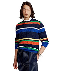 Men's Striped Cotton Crewneck Sweater