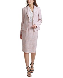 Tweed Imitation Pearl One-Button Blazer, Ruched Top & Tweed High-Waist Pencil Skirt