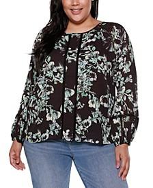 Black Label Plus Size Floral Long Blouson Sleeve Top