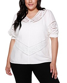 Black Label Plus Size 3/4 Blouson Sleeve V-neck Top