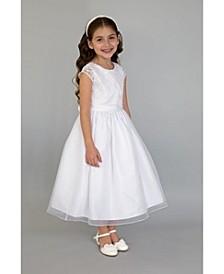 Big Girls Cap Sleeve Embroidered Faux Bolero Communion Dress with Organza Overlay Skirt