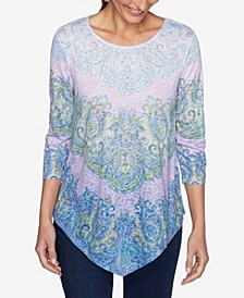 Plus Size Knit Embellished Paisley Top