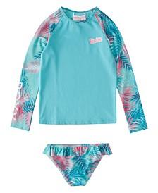 Toddler Girls Barbie Leaf Garden Long Sleeve Lycra Rashguard