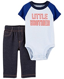 Baby Boys Little Brother Bodysuit Pant and Set, 2 Pieces