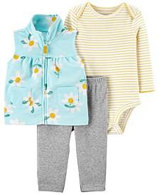 Cartert's Baby Girls Floral Little Vest Set, 3 Pieces
