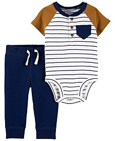 Baby Boys Henley Bodysuit and Pant Set, 2 Pieces