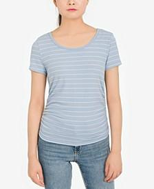 Juniors' Striped Ribbed T-Shirt