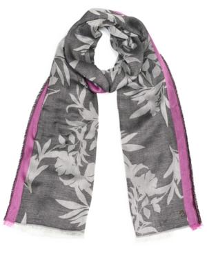 Calvin Klein Modern Floral Pashmina Wrap In Shock Pink