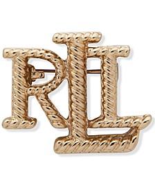 Gold-Tone Rope Logo Pin