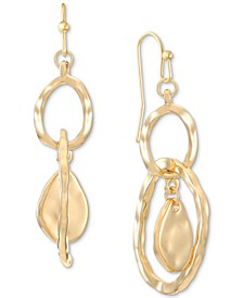 Gold-Tone Hammered Double Drop Earrings, Created for Macy's