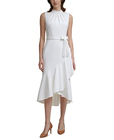 Mock-Neck Midi Dress