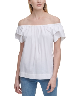 Dkny SOLID OFF-THE-SHOULDER RUFFLED-SLEEVE TOP