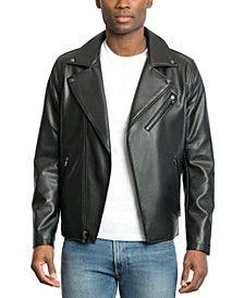 Men's Faux Leather Asymmetrical Jacket