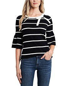 Striped Bow-Neck Sweater