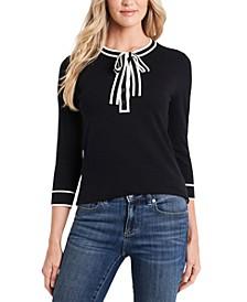 Cotton Henley Tie-Neck Pullover Sweater