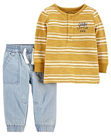 Baby Boys Striped Sweater and Chambray Pant Set, 2 Pieces