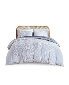 Aitana Full/Queen Tufted Cotton Chenille Comforter, Set of 3