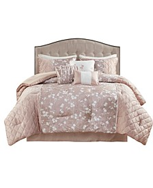 Marling King Printed Velvet Comforter, Set of 7