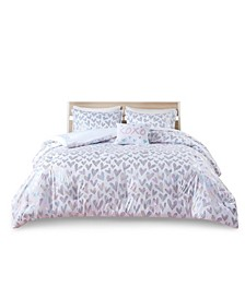 Kristie Twin/Twin Extra Large Iridescent Metallic Heart Printed Comforter, Set of 3