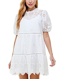 Juniors' Embroidered Bubble-Sleeve Dress