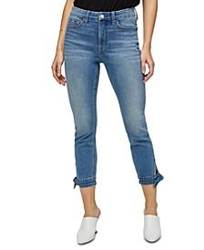 Tie-Hem Skinny Ankle Jeans