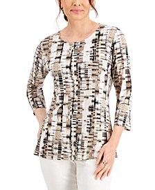 Petite Printed Jacquard 3/4-Sleeve Top, Created for Macy's