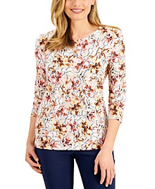 Petite Printed Jacquard Top, Created for Macy's