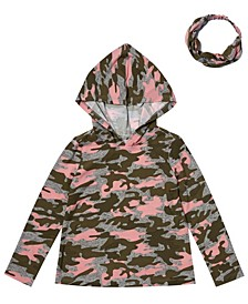 Toddler Girls Hooded Tee with Match Back Headband