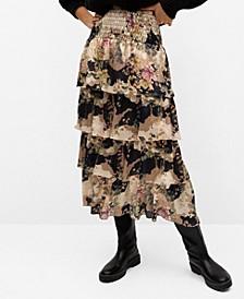 Women's Printed Ruffle Skirt