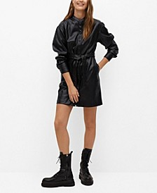 Women's Faux-Leather Shirt Dress