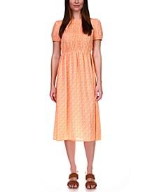 Pintuck Paisley-Print Midi Dress