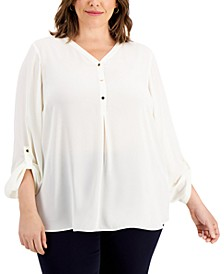 Plus Size Roll-Sleeve Top, Created for Macy's