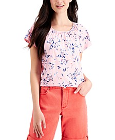 Petite Pleated Floral-Print Top, Created for Macy's