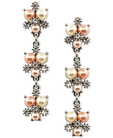 Silver-Tone Crystal & Colored Imitation Pearl Burst Linear Drop Earrings, Created for Macy's