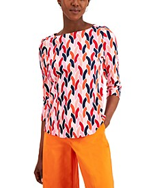 Petite Cotton Printed 3/4-Sleeve Top, Created for Macy's