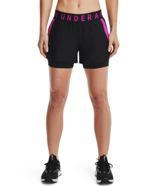 Under Armour Women's Play Up 2-in-1 Shorts In Black / Meteor Pink