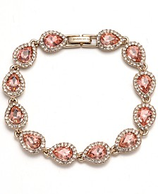 Gold-tone and Rose Peach Crystal Flex Bracelet
